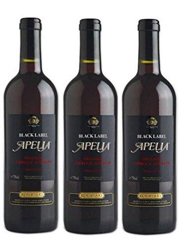 3x Apelia Black Label 750 ml Rotwein lieblich aus Griechenland 11,5 {92683ef3710191bbb1e421971c62a18c43386541c9c5754865a52015fccab56d} + 1 Probier Sachets Olivenöl aus Kreta a 10 ml - griechischer roter Wein