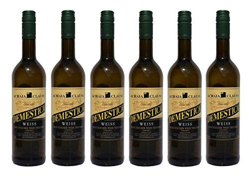 6x Demestica je 750 ml griechischer Weißwein trocken Achaia Clauss 12{92683ef3710191bbb1e421971c62a18c43386541c9c5754865a52015fccab56d} + 2 Probier Sachets Olivenöl aus Kreta a 10 ml - griechischer weißer Wein Tafelwein