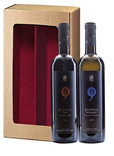 Griechisches Wein Geschenk-Set | Rotwein Syrah trocken 2013 Silbermedaille 2017 | Weißwein Malagousia trocken 2016 | Geschenkkarton mit Sichtfenster| by ARISTOS (Hochwertige Weine)