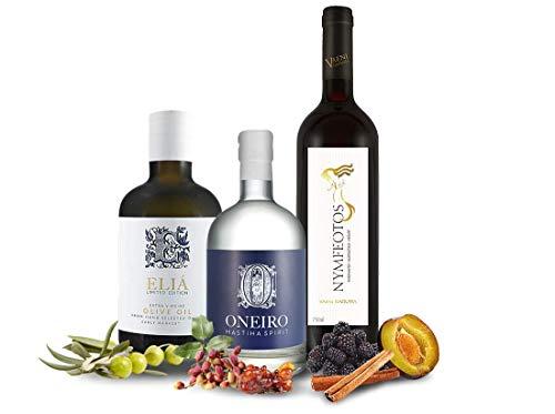 Probierpaket Griechischer Abend mit je 1 Fl. Wein, Olivenöl und Spirituose