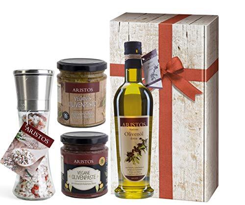 4 tlg Griechisches Olivenöl Geschenk-Set Weihnachten   Öl, Meersalz, Tapenade (Olivenpaste), Olivenpesto   in Geschenkkarton mit Holzoptik und Schlaufe   by ARISTOS (Öl-Salz-Pesto-Paste)